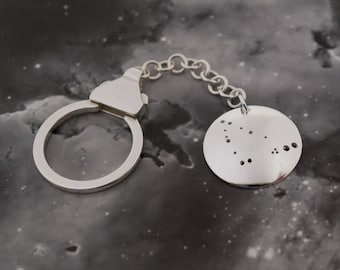 Silver Capricorn keyring: The constellation of Capricorn on a sterling silver keychain