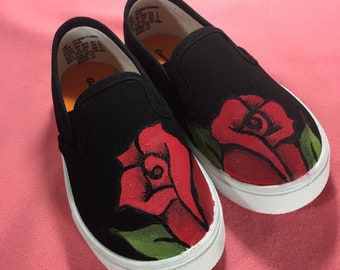Hand Painted Rose Shoes