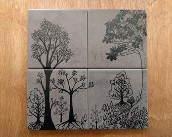 Hand painted coasters with forest motif
