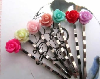 4 rose flowers bobby pin with holiday gift tag -mint, coral, orange, pink, cream, turquoise, purple, dust pink, hot pink, green, red pin