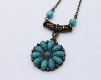 Brass Turquoise Flower Pendant Necklace