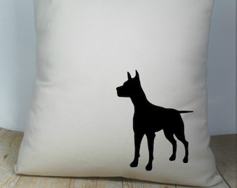 Doberman Pillow Cover Natural Color Canvas with Black Dachshund Shape 18x18 Inch Cover Made to Order