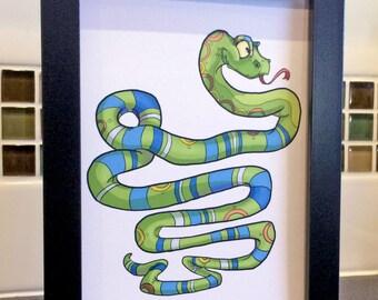 Snake Art / Animal Art / Reptile Art / Kids Room Art / Zoo Art / Wall Art / Blue / Green / 5x7 Art Print