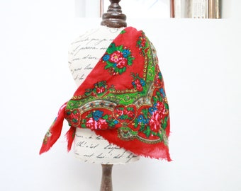"""Vintage Russian Floral Shawl Square Red Wool Scarf fringes Boho Ethnic 25"""" X 25"""" (64x64 cm)"""