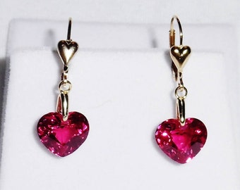 Natural 10 cts HEART Red Topaz gemstones, 14kt yellow gold HEART Leverback Earrings, VALENTINE'S Day