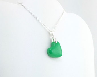 Dark Green Clay Heart Pendant - Simple Heart Necklace - Dark Green Heart Necklace  - Wedding Jewelry, Bridesmaid Necklace - MADE to ORDER