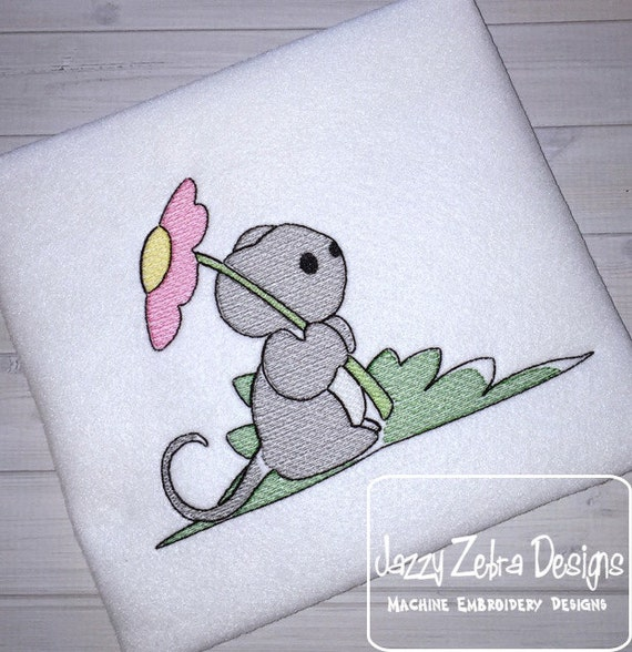 Mouse with Flower Sketch Embroidery Design - flower Sketch Embroidery Design - mouse Sketch Embroidery Design - spring Sketch Embroidery