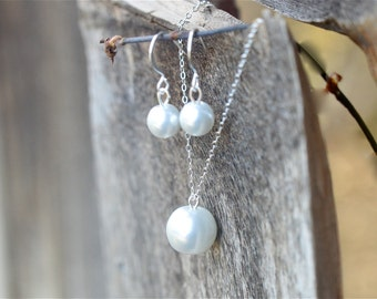 Sterling Silver Pearl Bridesmaid Jewelry Set, Jr Bridesmaid Pearl Jewelry Gift Set, Pearl Bridesmaid Set, Necklace Earrings, Choose Color
