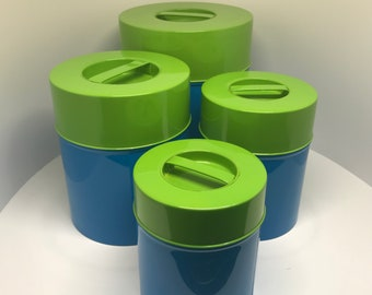 COUNTERPOINT Canisters in LIME and BLUE Japanese Mid Century Modern Panton Era tin metal seal tight kitchen canister set new in Box