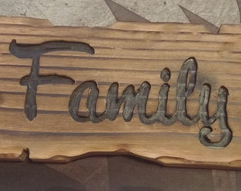 Small TIki or Distressed Style Wood Family Sign
