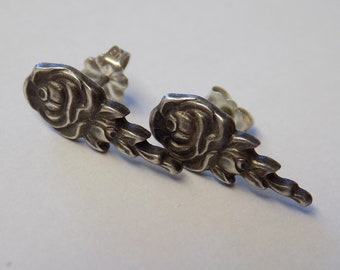 Vintage Sterling Rose Earrings Unmarked Handmade Floral Style Design Natural Look & Color Used Good Condition Hand-crafted Ladies Jewelry