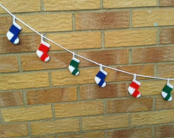 Mini Christmas Stocking crochet garland / bunting / decoration