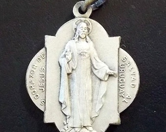 Vintage Sacred Heart of Jesus NATIONAL SANCTUARY MONTEVIDEO Religious Medal Pendant Jewelry on 18 inch sterling silver rolo chain