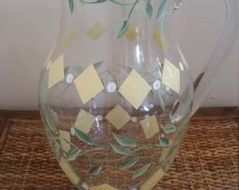 Hand Painted Glass Water/Iced Tea Pitcher