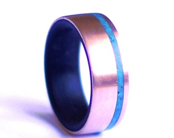 Ebony Mens Ring, Brass Wedding Band with Turquoise inlay