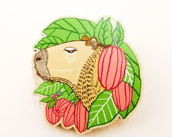 Capybara pin, guinea pig jewelry, animal art, animal jewelry, guinea pig gift, capybara, quirky pin, wooden pin, animal brooch, cool brooch