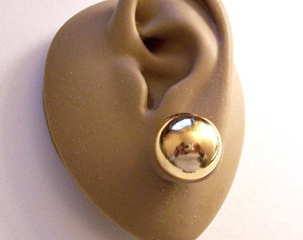 """Gold Tone 5/8"""" Round Single Bead Pierced Post Earrings Vintage Large Polished Reflective Lightweight Smooth Ball Studs"""