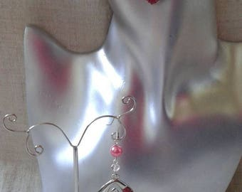 "Earrings ""pink diamond and beads"""
