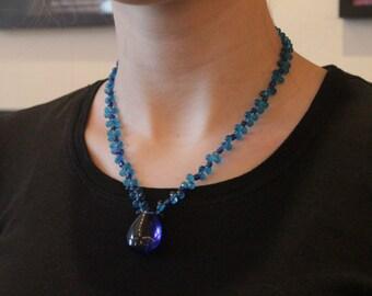 Blaue Kugel Halskette