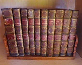 Works of Alexander Pope 1824 10 Volume Set with Stand, William Roscoe, London England, Brown Red Gilt Leather Antique Books, Old Books