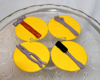 Fondant Tools Cupcake Topper (Qty 12) - Fondant Construction - Hammer - Wrench - Screwdriver - Handyman - Dad's Birthday - Boy Birthday