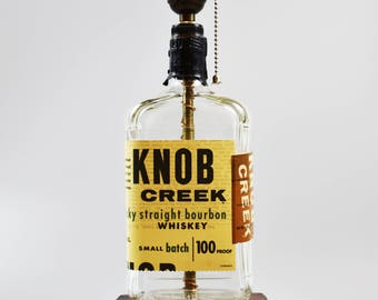 Knob Creek Bourbon Bottle lamp/handmade/ man cave/light/bourbon lamp/bottle light/liquor/bar/gifts for men/whiskey/whiskey bottle lamp