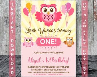 Owl Birthday Invitation, Owl Invitation, INSTANT DOWNLOAD, Pink owl invitation, Owl party,  Girl Owl Birthday Invitation, Girl Owl Birthday