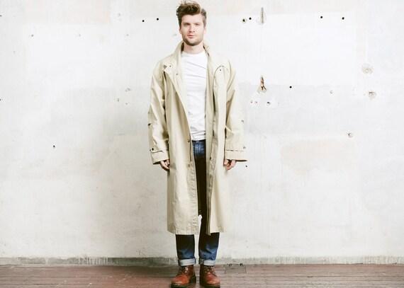 1980s Men 80s Belted Beige Beige Large Retro Coat Coat Long sz Trench Detective Outerwear Long Coat Rain Duster Jacket Extra Men's Coat Sqffdw7n