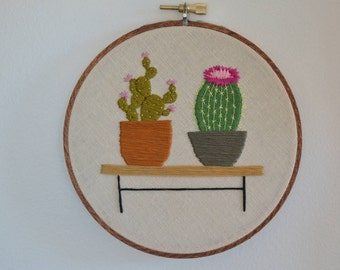 Mid-Century Cactus duo / Hand Stitched Embroidery Art