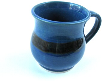 Blue mug, teal mug, Coffee mug, Pottery mug