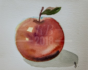 Apple original watercolor on paper.A gifted for New Year day