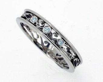Blue diamond filigree wedding ring, bridal, light blue diamond ring, vintage, unique engagement ring, blue wedding, custom, anniversary band
