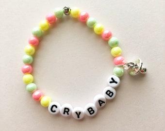 Crybaby Bracelet, Fairy Kei Bracelet, Gifts For Teens, Pastel Jewelry, Rainbow Bracelet, Kawaii Bracelet, Pastel Goth, Fairy Kei Jewelry