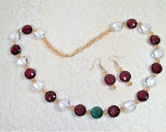 Christmas Necklace and Earring Set, Red, Clear and Green Beaded Jewelry, Champagne Necklace, Red Beaded Earrings, Holiday Jewelry