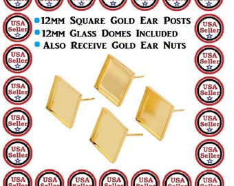 25) Pairs 12mm Gold Plate Square Earring Studs Square Blank Bezel Gold Plate Earrings DIY Craft Included Glass Domes To Fit Sweet Gift