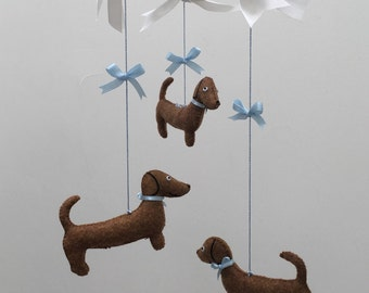 Dachshund Mobile Mini - Baby Mobile - Baby Decor - Nursery Decor - Wiener Dog - Baby Crib Mobile - Shower Gift - Baby Gift
