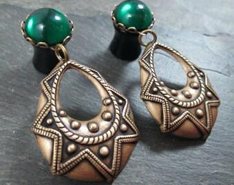 Dangle Plugs - 10g - 8g - 6g - 4g - 2g - 0g - Tribal Plugs - Antiqued Brass - Dangle Gauges - Tribal Jewelry - Plug Earrings