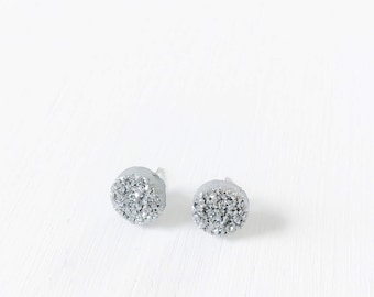 Silver Natural Druzy Stud Earrings with Surgical Stainless Steel Posts//10mm round earrings//silver studs//gifts for her//birthday gifts//
