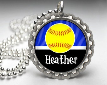 1 Personalized Blue Softball Bottlecap Necklace, 15 Color Choices, softball gifts, softball team, softball team gifts, necklaces