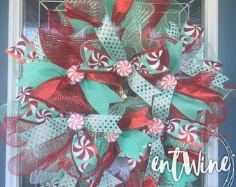 Bright Candy Swirl Christmas Wreath, Sm Mint Green and Red Deco Mesh Front Door Wreath, Candy Cane Home Decor