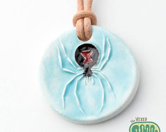 Latrodectus black widow spider pendant necklace
