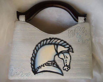 Celtic horse hand painted silk bag