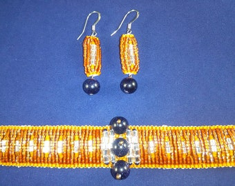 Beadwoven Bracelet and Earrings with Swarovski Crystals