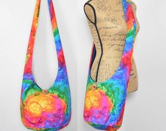 MADE TO ORDER Hobo Bag Boho Bag Hippie Purse Cross Body Bag Sling Bag Bohemian Bag Hobo Purse Hippie Bag Handmade Bag Rainbow Fabric Purse