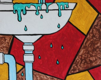 Original 8x10 Acrylic Pop Art Painting of an Overflowing Sink