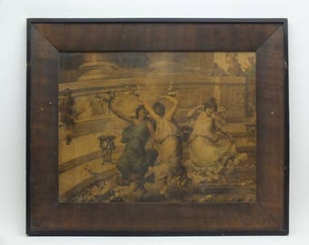 Antique Sepia Framed Photogravure or Lithographic Print Of  Dancing Mythological Greek Goddesses, Muses (Picture #8) or Nymphs* (Picture 9)