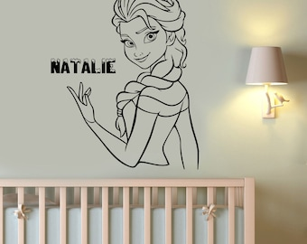 Disney Elsa Custom Name Wall Sticker Princess Girl Personalized Name Vinyl Decal The Snow Queen Decorations for Home Girls Room Decor elq3