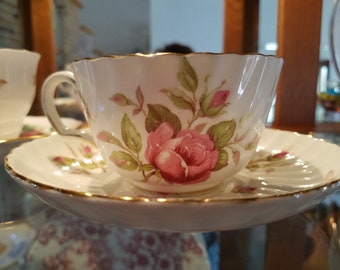 Adderley Pink Roses English Tea Cup and Saucer Fine Bone China