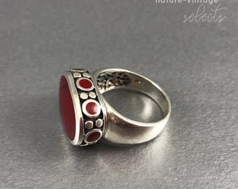 Vintage Size 7 3/4 Red Agate Silver Sterling Ring / Statement Ring / Boho Ring / Boho Jewelry / Bold Ring / Gifts for Her