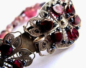 Sterling Silver Filigree Bracelet / garnet and pink glass